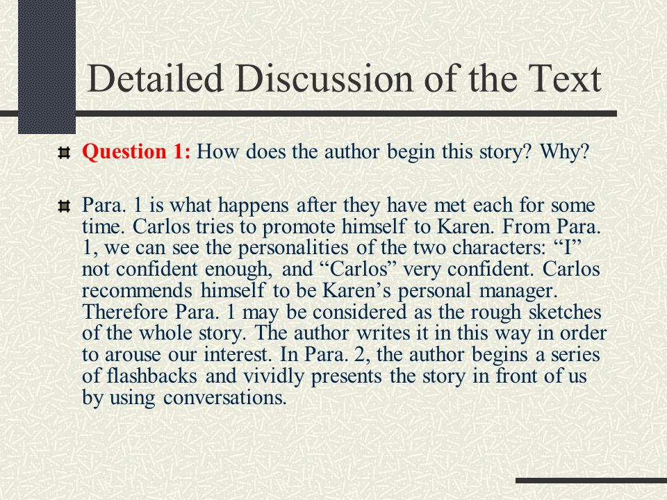 The structure of the text Part 1 (paras.