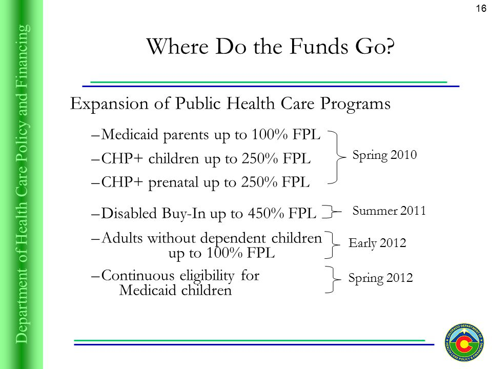 Department of Health Care Policy and Financing 16 Where Do the Funds Go.