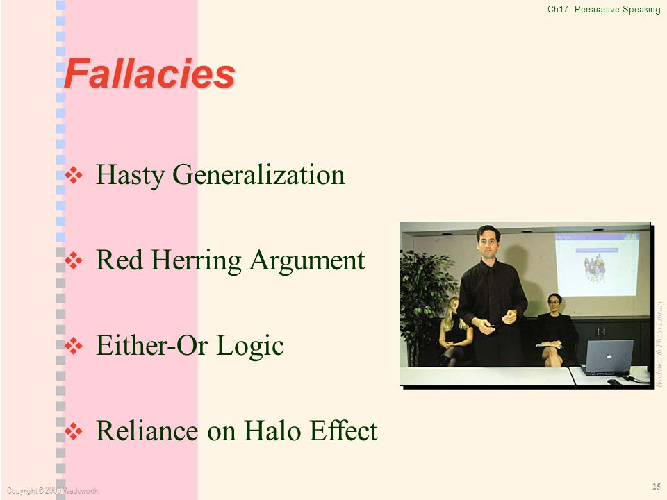 Ch17: Persuasive Speaking Copyright © 2006 Wadsworth 25 Fallacies   Hasty Generalization   Red Herring Argument   Either-Or Logic   Reliance on Halo Effect Wadsworth Photo Library