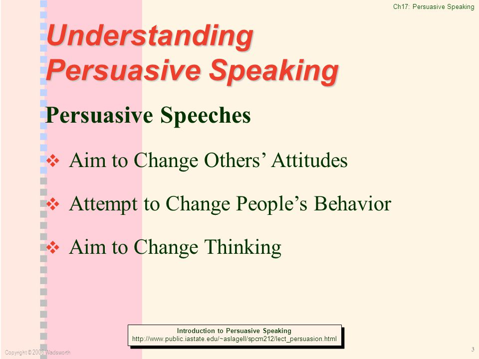 Ch17: Persuasive Speaking Copyright © 2006 Wadsworth 3 Understanding Persuasive Speaking Persuasive Speeches   Aim to Change Others' Attitudes   Attempt to Change People's Behavior   Aim to Change Thinking Introduction to Persuasive Speaking   Introduction to Persuasive Speaking
