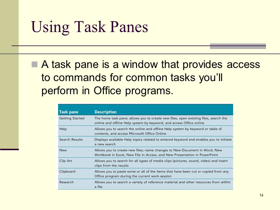 XP 14 Using Task Panes A task pane is a window that provides access to commands for common tasks you'll perform in Office programs.