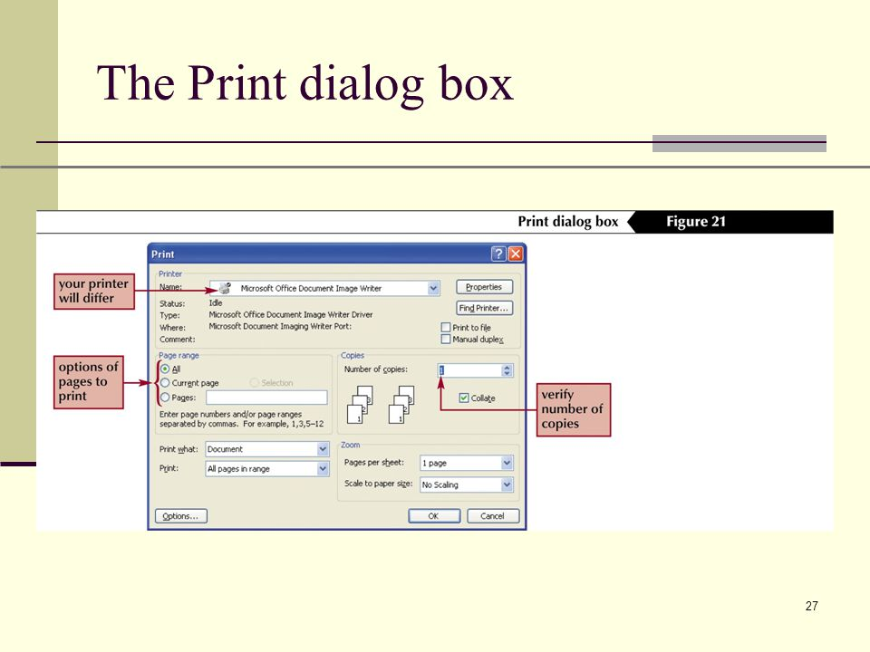 XP 27 The Print dialog box