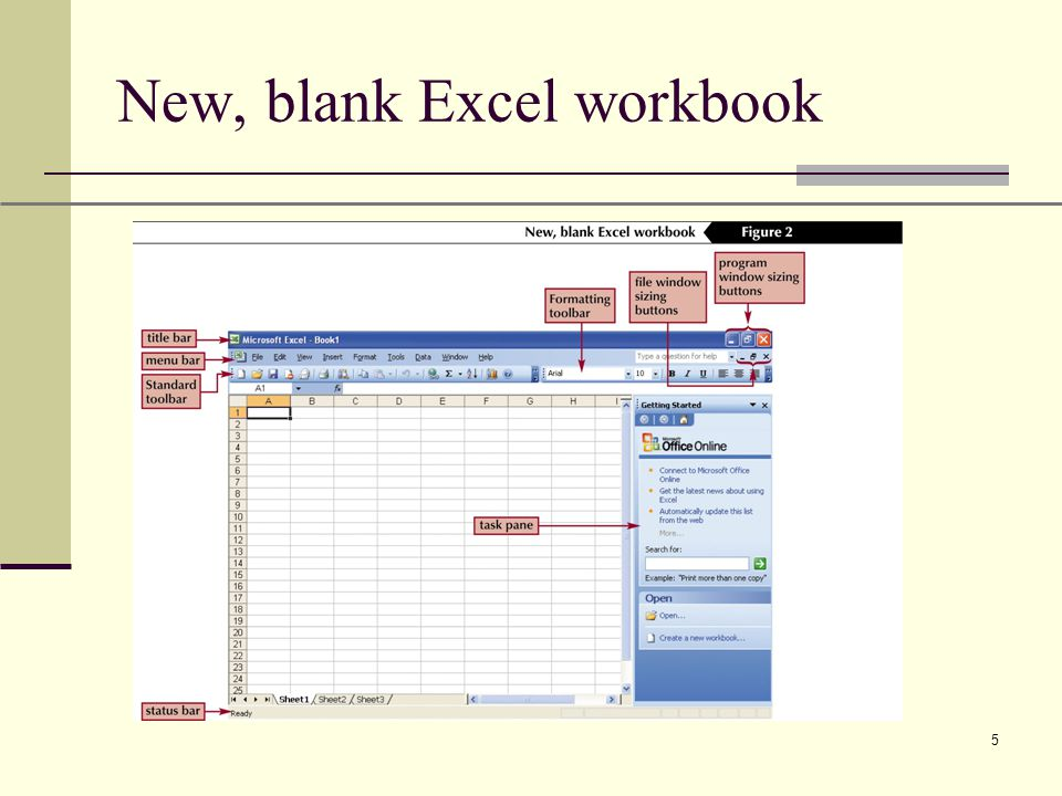 XP 5 New, blank Excel workbook