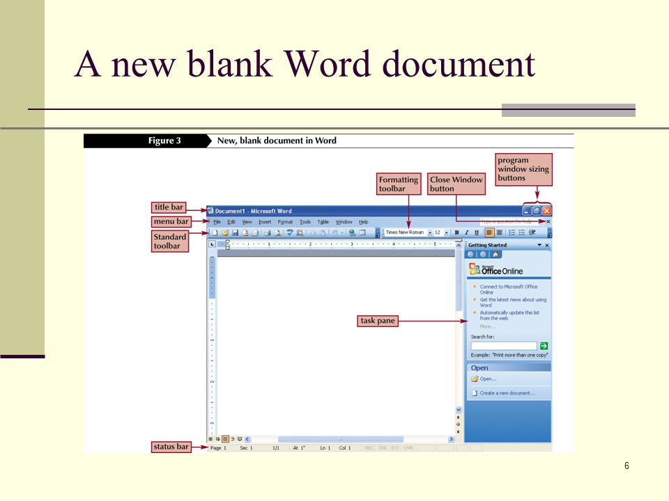 XP 6 A new blank Word document
