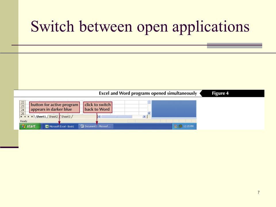 XP 7 Switch between open applications