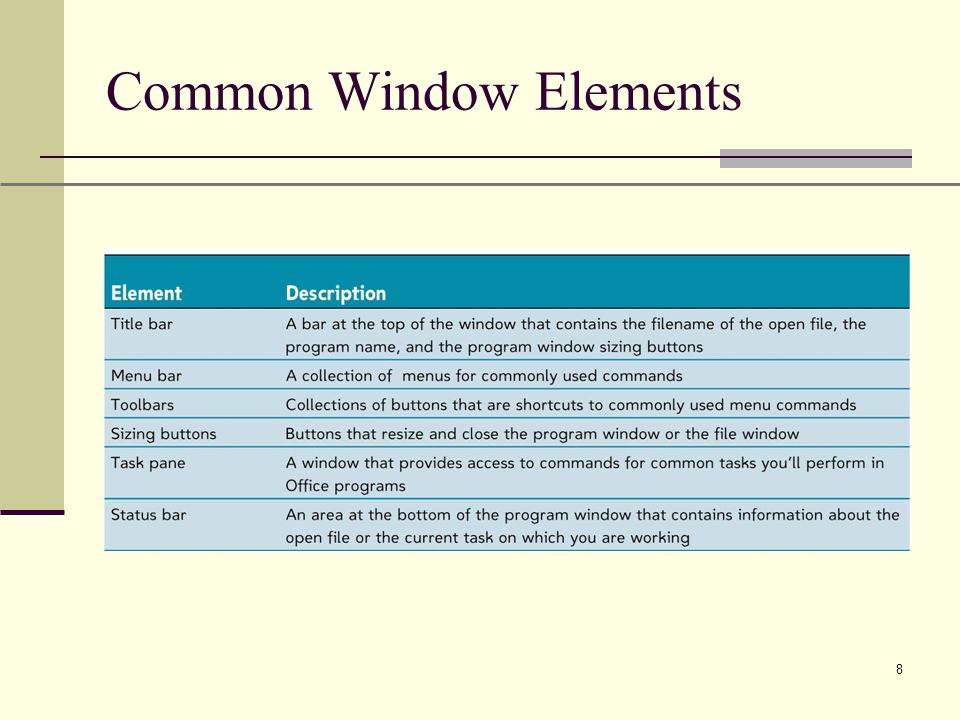 XP 8 Common Window Elements