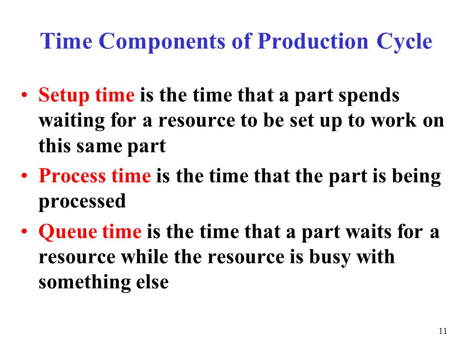 © The McGraw-Hill Companies, Inc., Time Components of Production Cycle Setup time is the time that a part spends waiting for a resource to be set up to work on this same part Process time is the time that the part is being processed Queue time is the time that a part waits for a resource while the resource is busy with something else