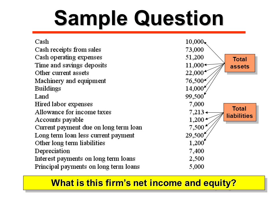 Sample Question What is this firm's net income and equity.