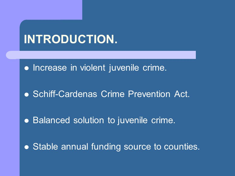 INTRODUCTION. Increase in violent juvenile crime.