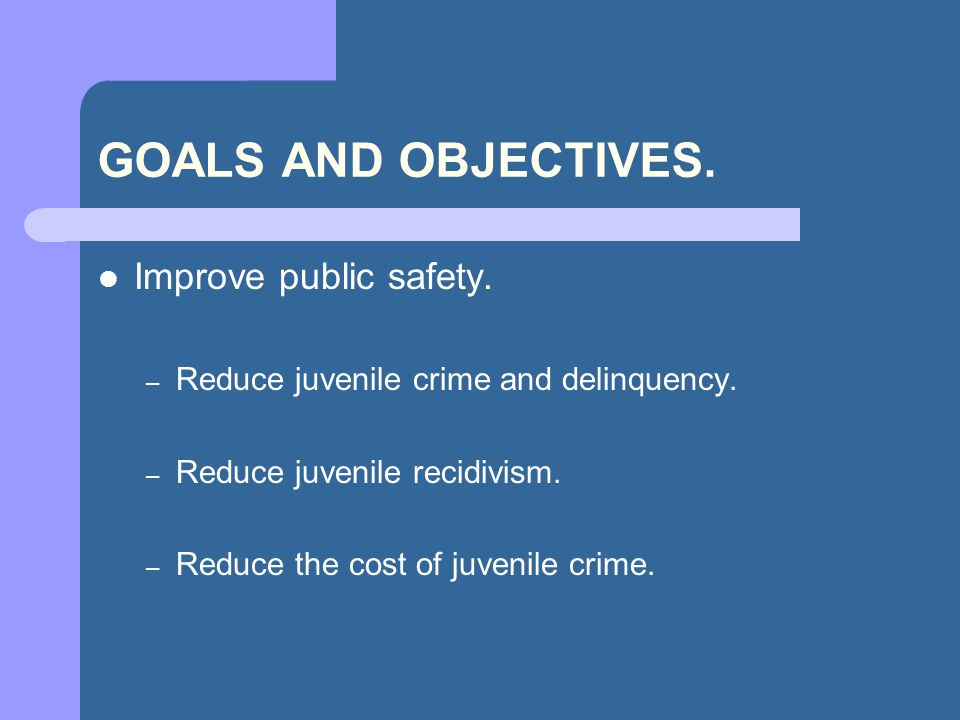 GOALS AND OBJECTIVES. Improve public safety. – Reduce juvenile crime and delinquency.