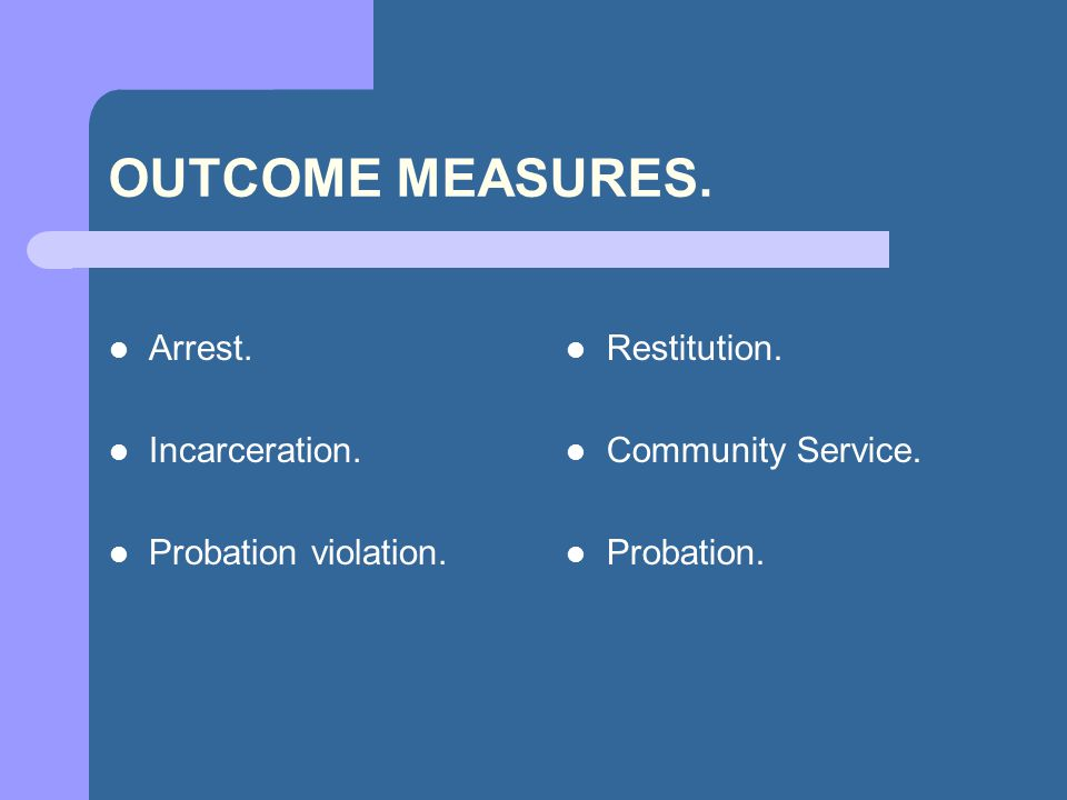 OUTCOME MEASURES. Arrest. Incarceration. Probation violation.