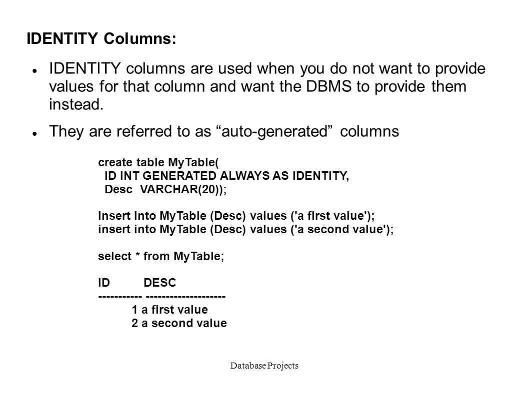 Create Table With Identity Column In Oracle 10g how to set