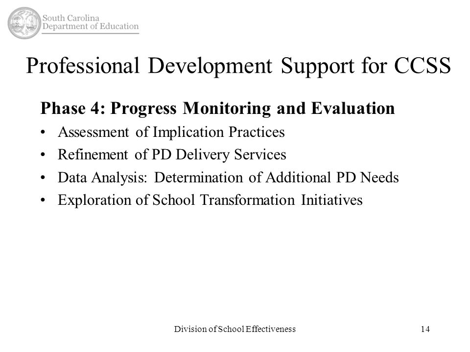 Professional Development Support for CCSS Phase 4: Progress Monitoring and Evaluation Assessment of Implication Practices Refinement of PD Delivery Services Data Analysis: Determination of Additional PD Needs Exploration of School Transformation Initiatives Division of School Effectiveness14