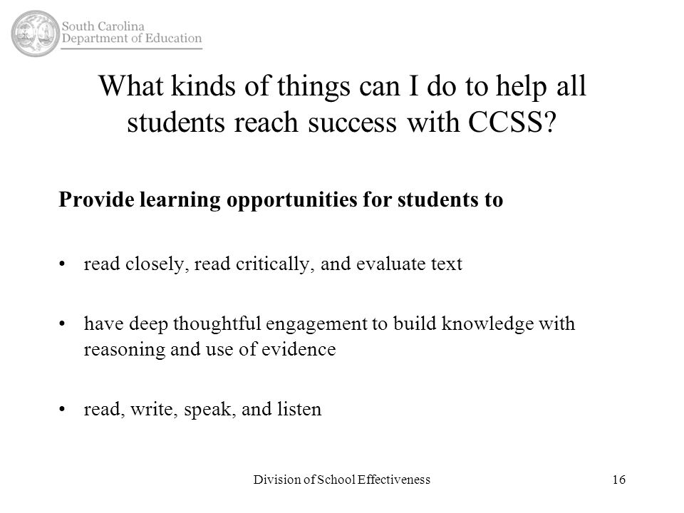 What kinds of things can I do to help all students reach success with CCSS.