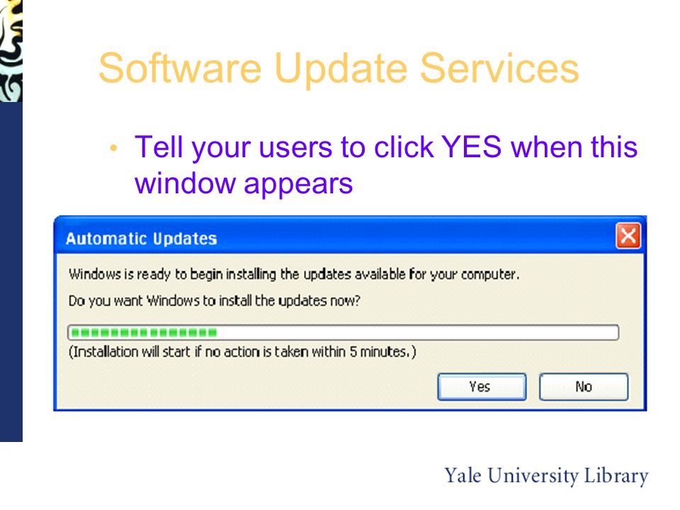 Software Update Services Tell your users to click YES when this window appears