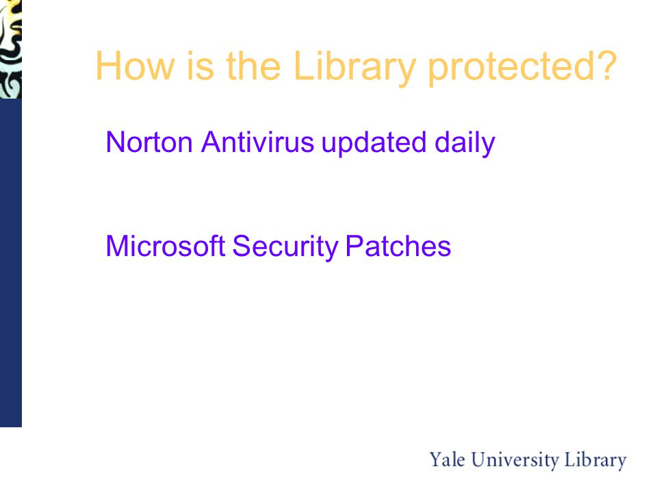 How is the Library protected Norton Antivirus updated daily Microsoft Security Patches