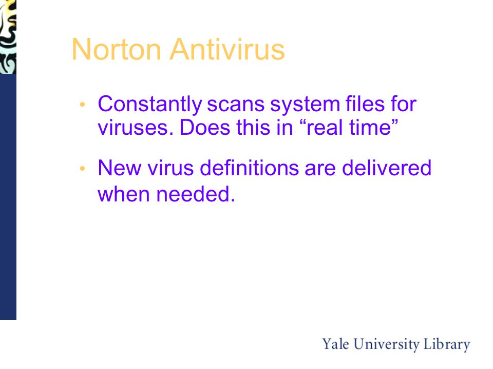 Norton Antivirus Constantly scans system files for viruses.