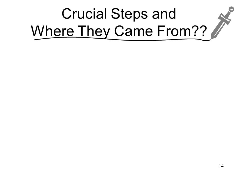 Crucial Steps and Where They Came From 14