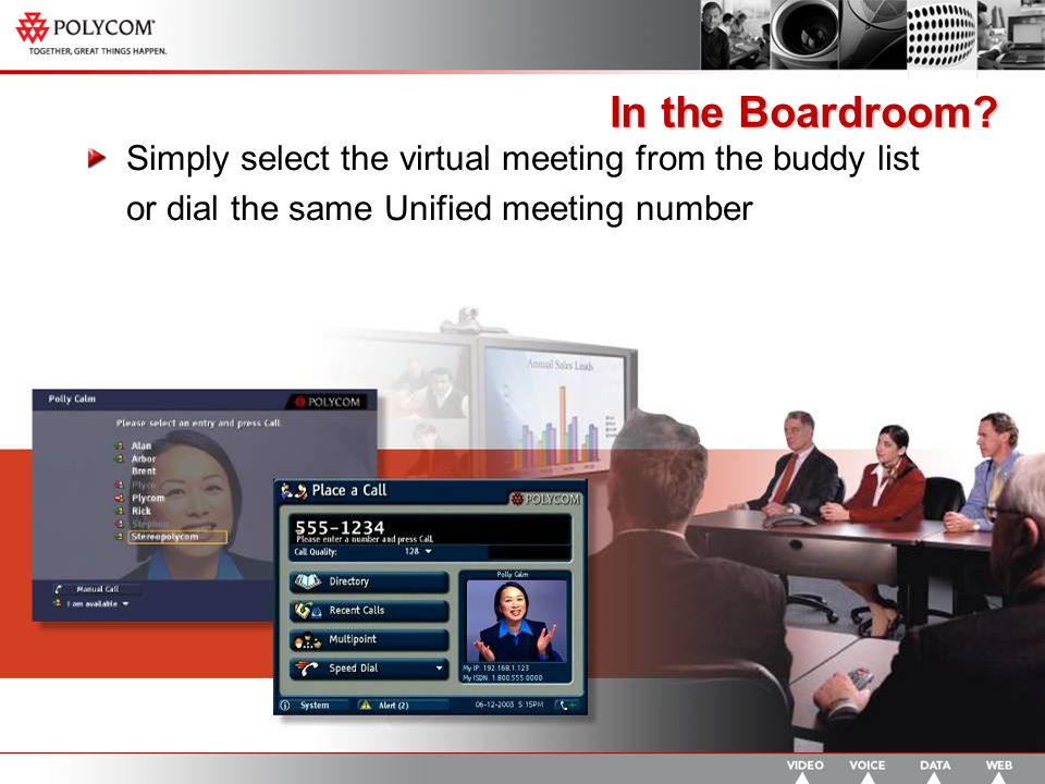 Simply select the virtual meeting from the buddy list or dial the same Unified meeting number In the Boardroom