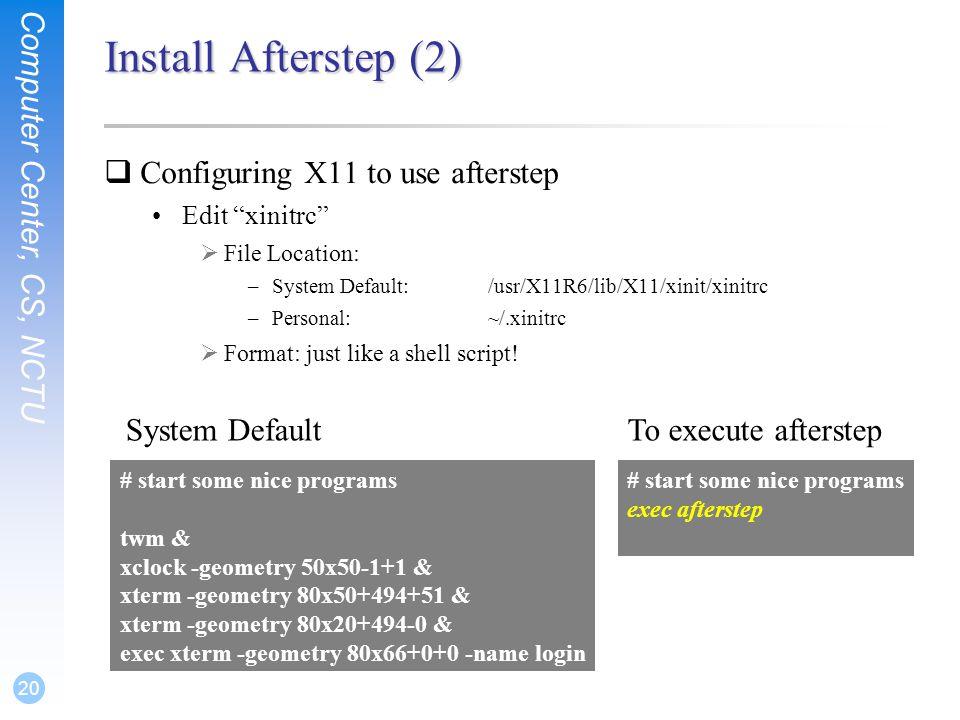 Exercise 2, Part (a) – Build X window  Computer Center, CS