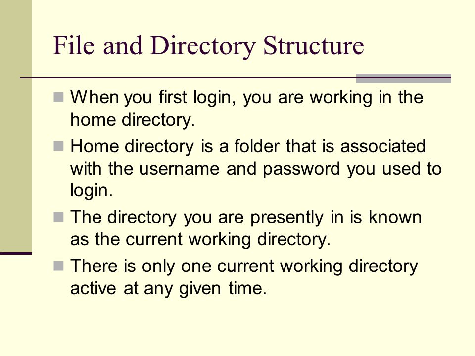 File and Directory Structure When you first login, you are working in the home directory.