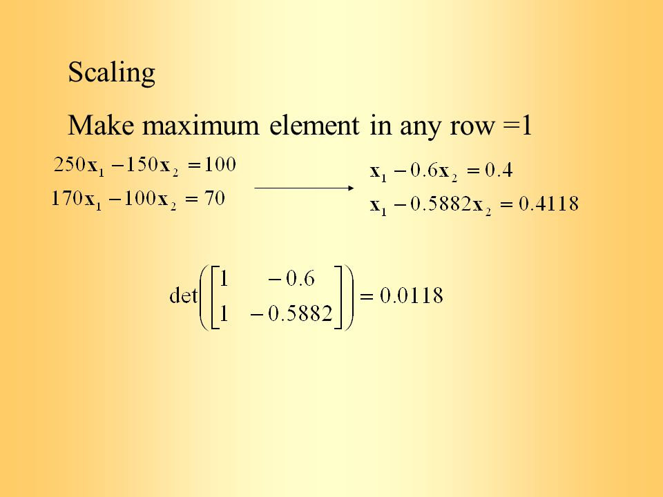 Scaling Make maximum element in any row =1