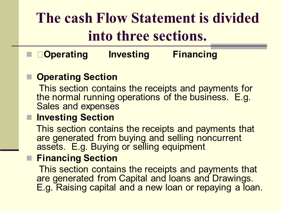 The cash Flow Statement is divided into three sections.