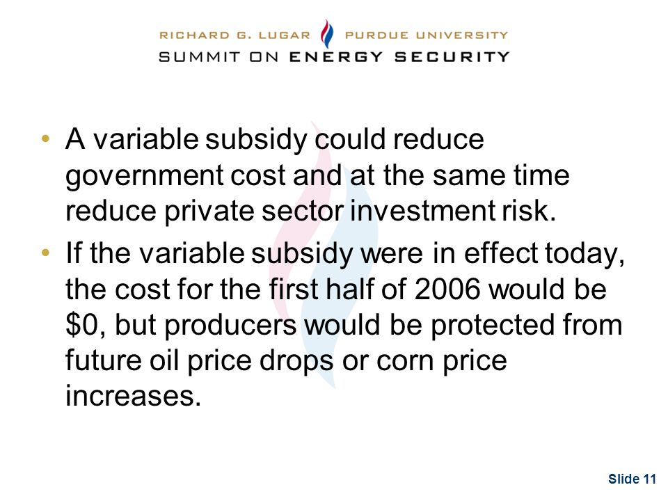 Slide 11 A variable subsidy could reduce government cost and at the same time reduce private sector investment risk.