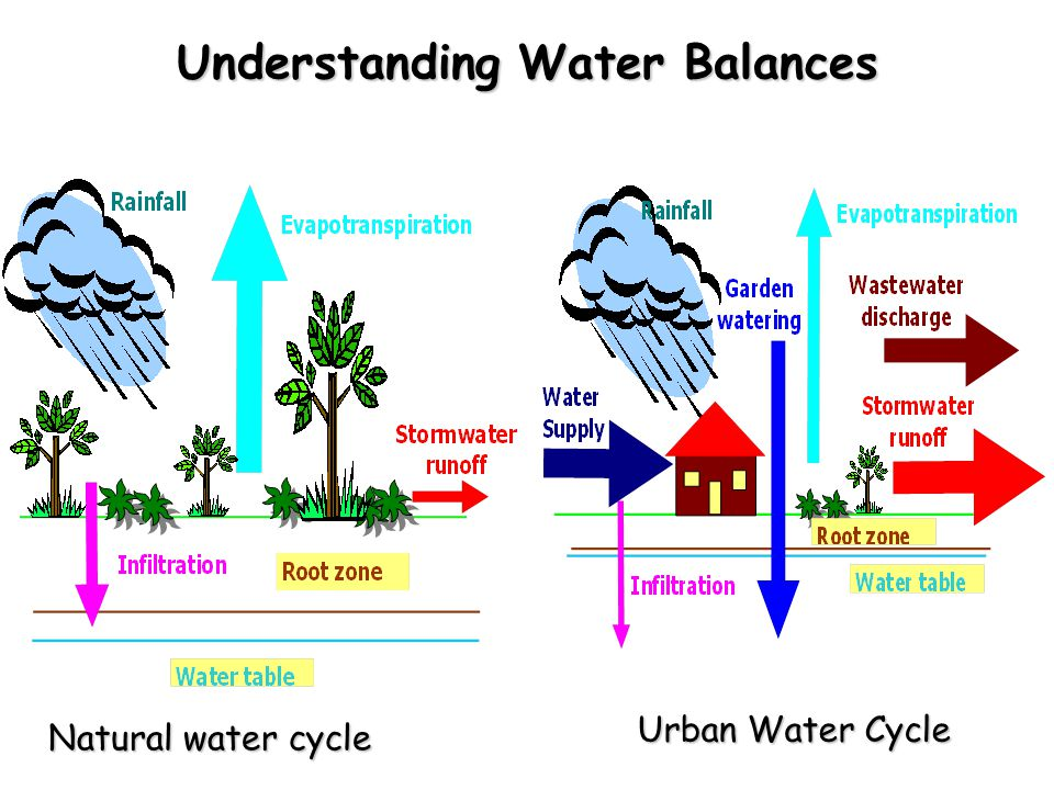 Understanding Water Balances Natural water cycle Urban Water Cycle