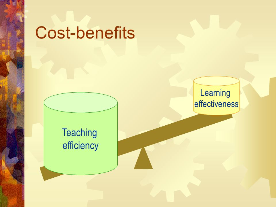 Cost-benefits Teaching efficiency Learning effectiveness