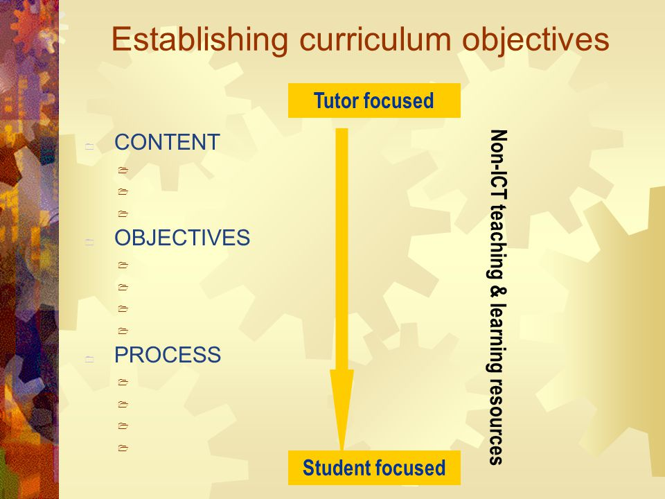 Establishing curriculum objectives  CONTENT   OBJECTIVES   PROCESS  Non-ICT teaching & learning resources Tutor focused Student focused