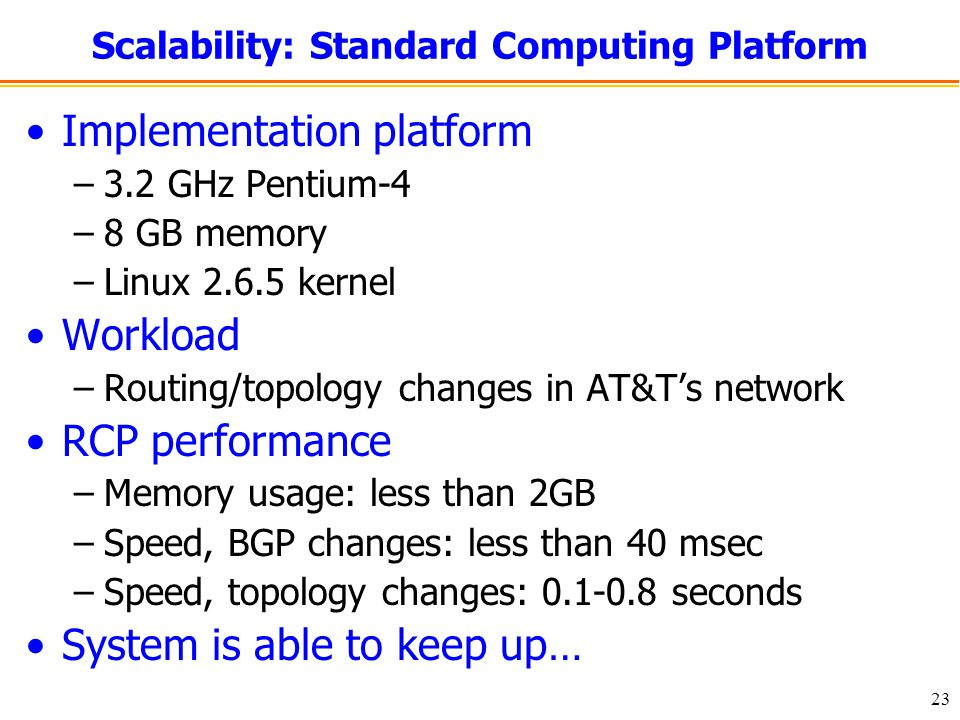 23 Scalability: Standard Computing Platform Implementation platform –3.2 GHz Pentium-4 –8 GB memory –Linux kernel Workload –Routing/topology changes in AT&T's network RCP performance –Memory usage: less than 2GB –Speed, BGP changes: less than 40 msec –Speed, topology changes: seconds System is able to keep up…