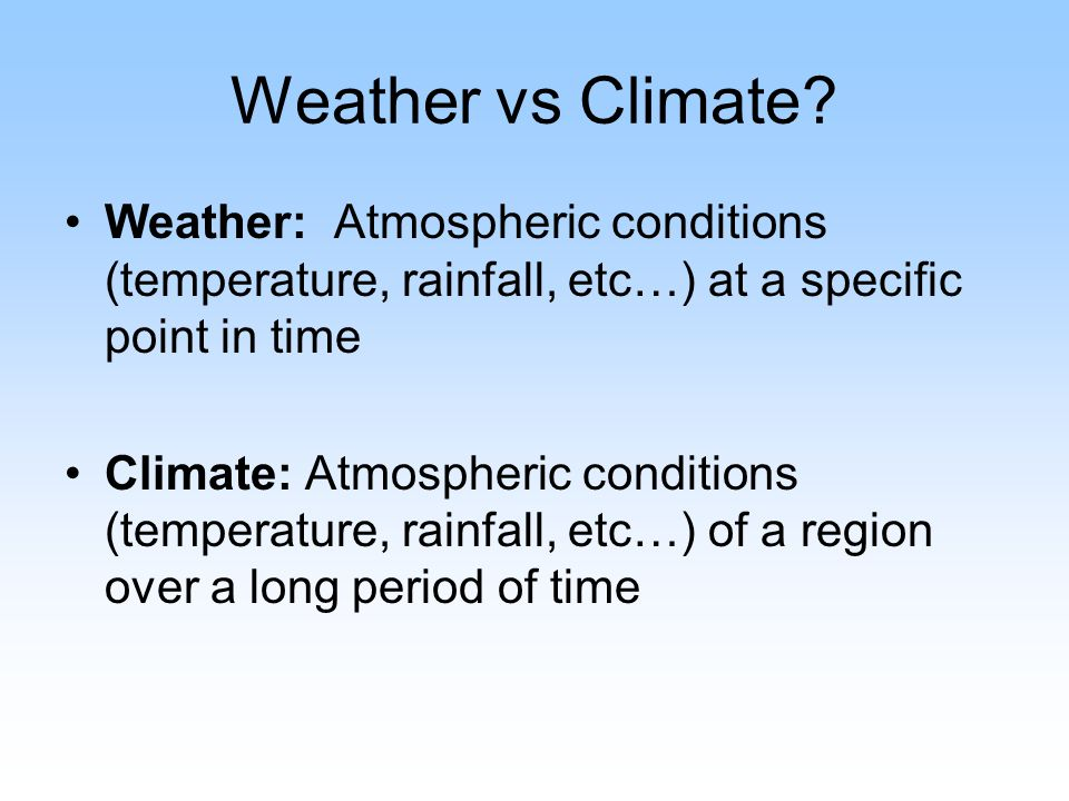 Weather vs Climate.