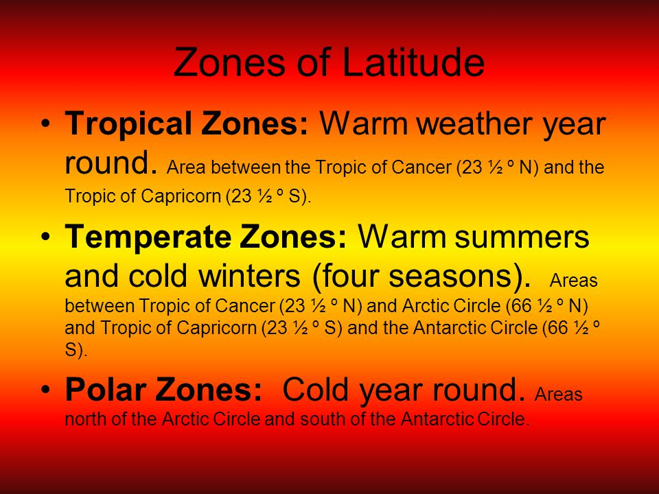 Zones of Latitude Tropical Zones: Warm weather year round.