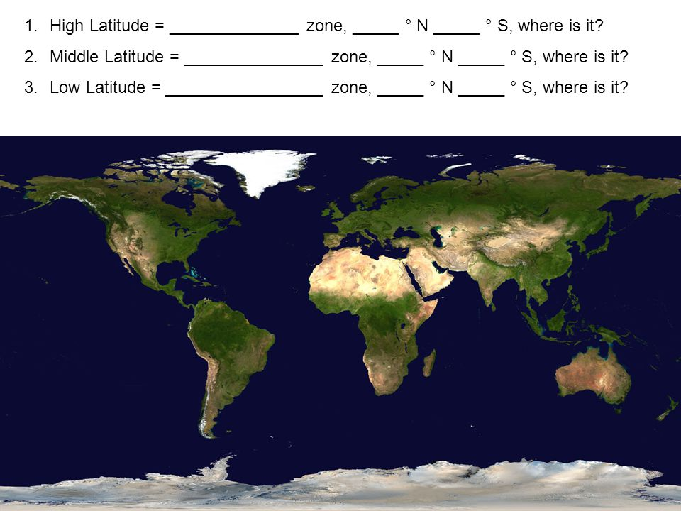 1.High Latitude = ______________ zone, _____ ° N _____ ° S, where is it.