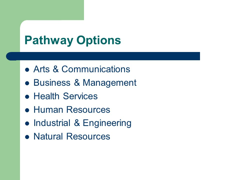 Pathway Options Arts & Communications Business & Management Health Services Human Resources Industrial & Engineering Natural Resources