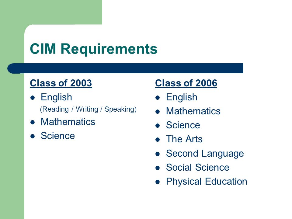 CIM Requirements Class of 2003 English (Reading / Writing / Speaking) Mathematics Science Class of 2006 English Mathematics Science The Arts Second Language Social Science Physical Education