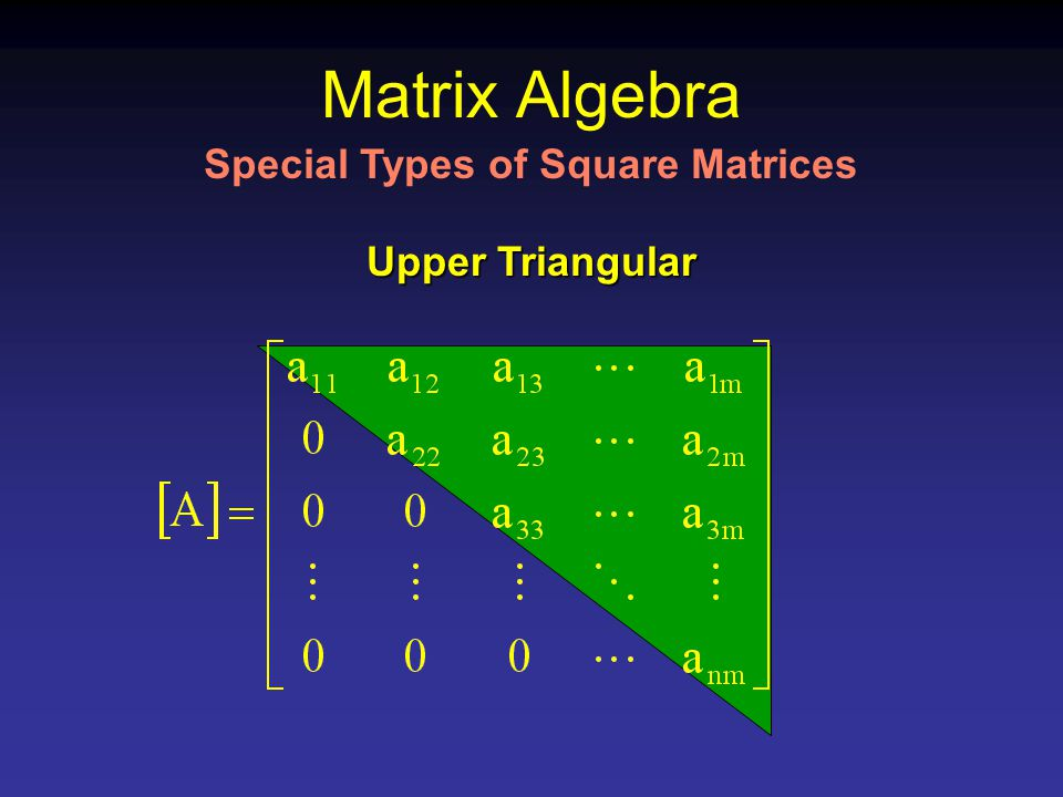 Matrix Algebra Upper Triangular Special Types of Square Matrices