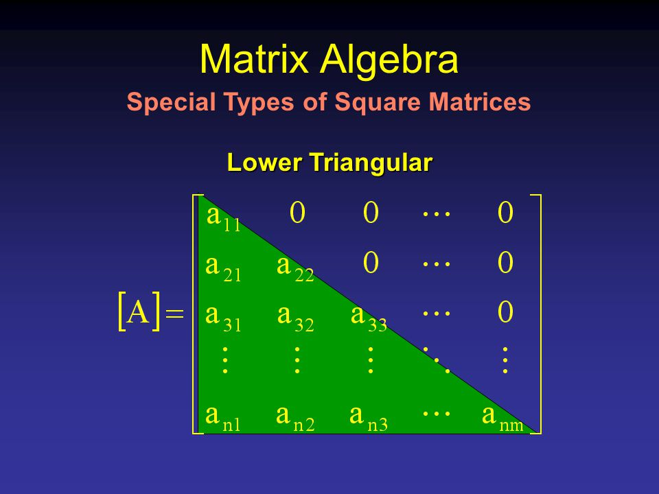Matrix Algebra Lower Triangular Special Types of Square Matrices