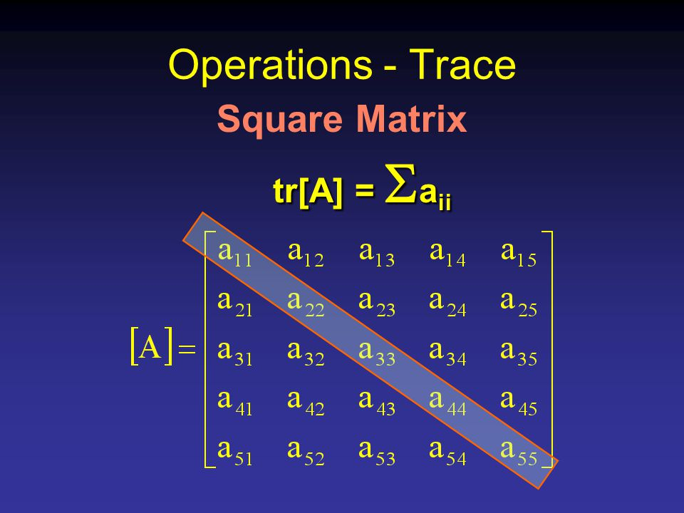 Operations - Trace Square Matrix tr[A] =  a ii