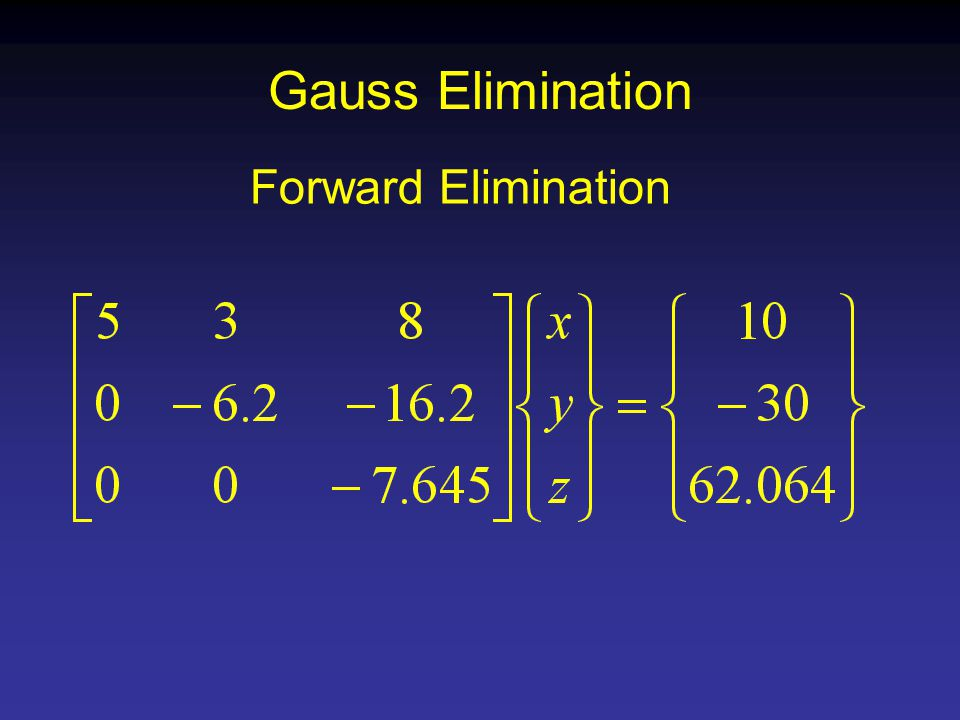 Gauss Elimination Forward Elimination