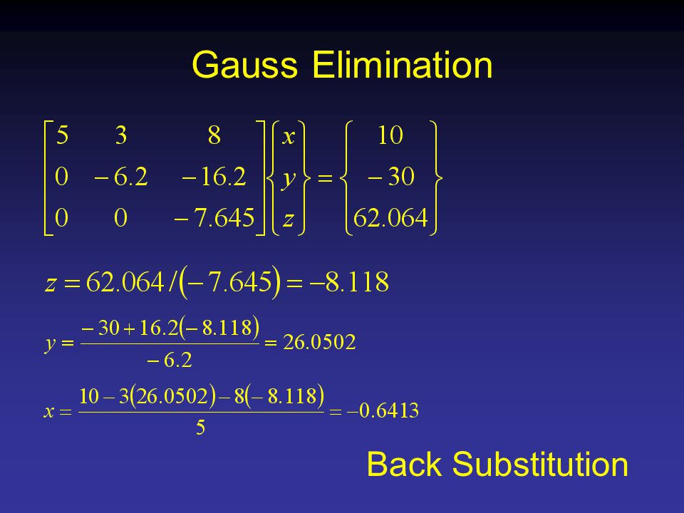 Gauss Elimination Back Substitution