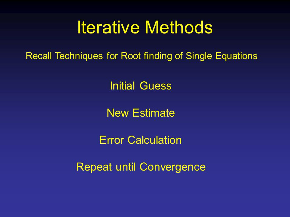 Iterative Methods Recall Techniques for Root finding of Single Equations Initial Guess New Estimate Error Calculation Repeat until Convergence