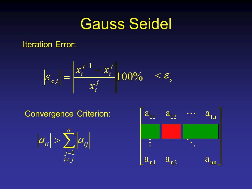 Gauss Seidel Iteration Error: Convergence Criterion: