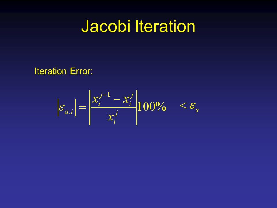 Jacobi Iteration Iteration Error: