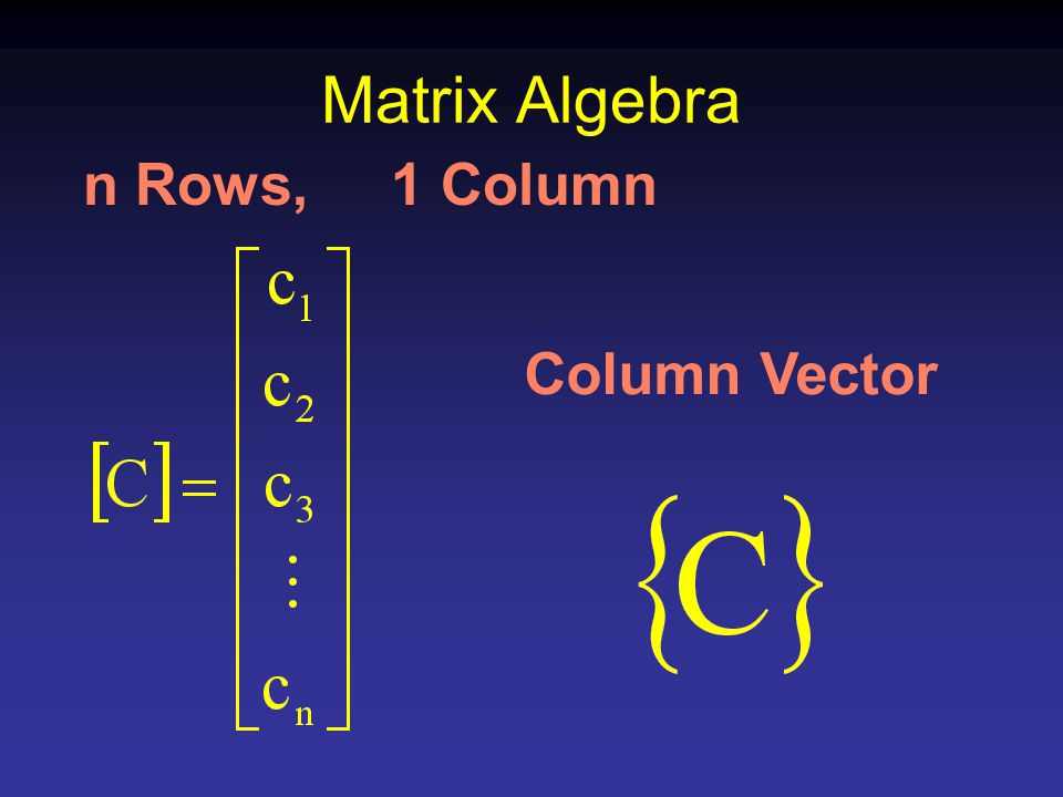 Matrix Algebra n Rows, 1 Column Column Vector