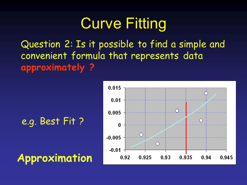 Curve Fitting Question 2 : Is it possible to find a simple and convenient formula that represents data approximately .