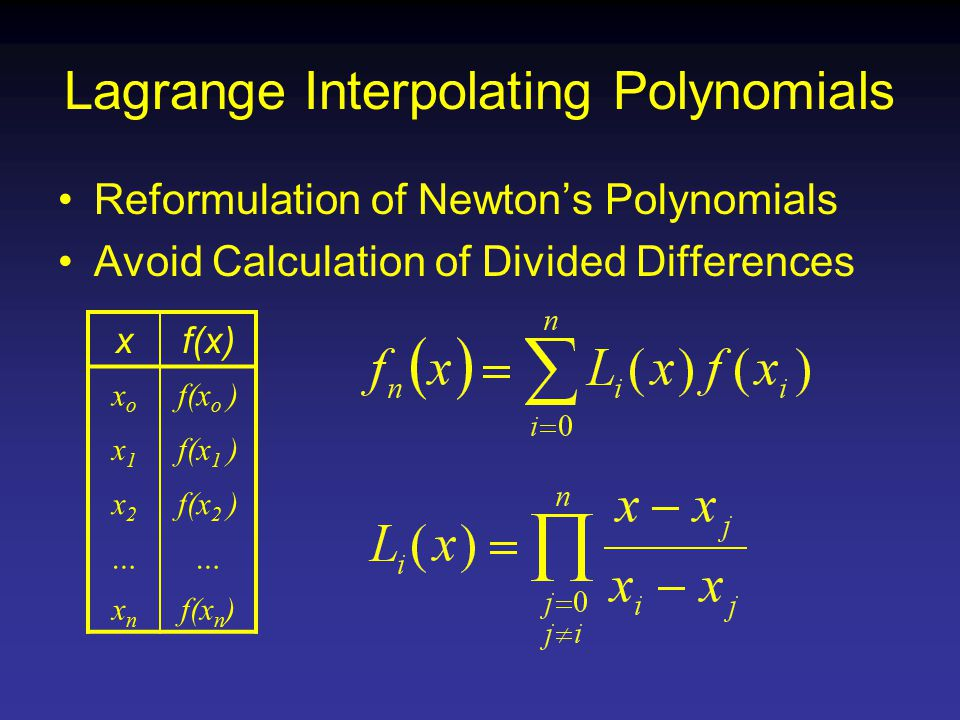 Lagrange Interpolating Polynomials Reformulation of Newton's Polynomials Avoid Calculation of Divided Differences xf(x) xoxo f(x o ) x1x1 f(x 1 ) x2x2 f(x 2 ) …… xnxn f(x n )