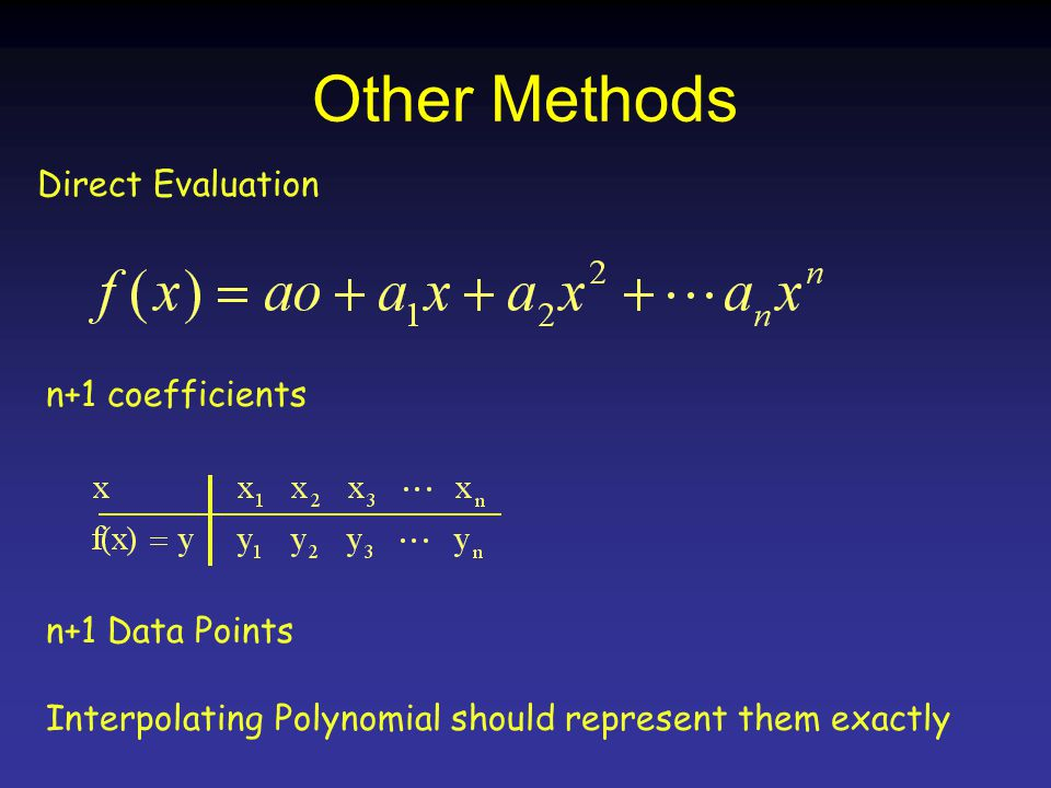 Other Methods Direct Evaluation n+1 coefficients n+1 Data Points Interpolating Polynomial should represent them exactly