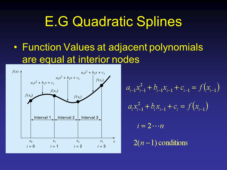 E.G Quadratic Splines Function Values at adjacent polynomials are equal at interior nodes